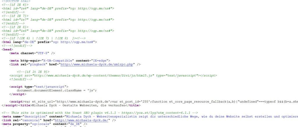 So sieht Html Code aus